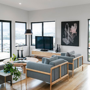 Photo of a scandinavian living room in Hobart with white walls, light hardwood floors and a freestanding tv.
