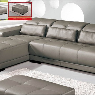 Grey All Leather Sectional Sofa