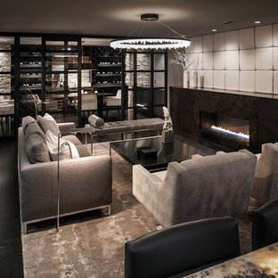 Inspiration for a medium sized modern enclosed living room in San Diego with a home bar, white walls, painted wood flooring, a standard fireplace, a metal fireplace surround and a wall mounted tv.