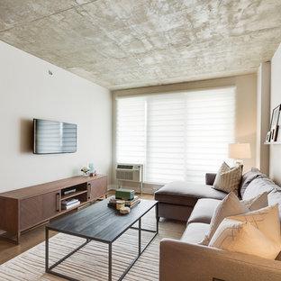 Ispirazione per un piccolo soggiorno design stile loft con pareti bianche, parquet chiaro e TV a parete