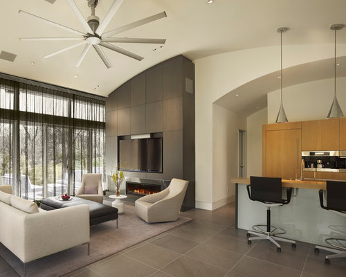 inspiration for a contemporary open concept living room remodel in