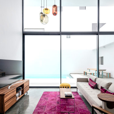 Living room - modern formal concrete floor and gray floor living room idea in Los Angeles with white walls and a tv stand