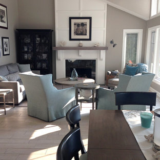 Mid Sized Open Concept Ceramic Floor Living Room Photo In Grand Rapids With Gray Walls