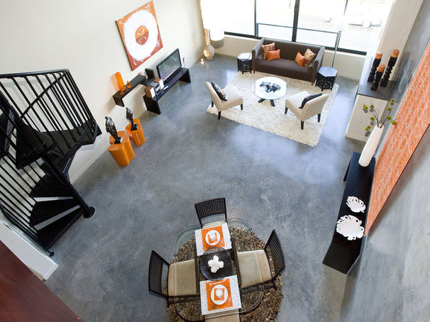 Industrial Living Room by Pangaea Interior Design, Portland, OR
