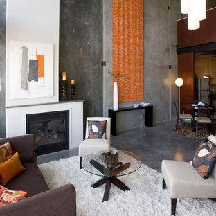 Esempio di un soggiorno industriale di medie dimensioni e chiuso con pareti grigie, pavimento in cemento, camino classico, pavimento grigio, sala formale, nessuna TV e cornice del camino in metallo