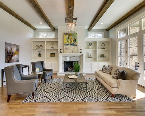 Inspiration For A Farmhouse Formal And Enclosed Medium Tone Wood Floor And  Brown Floor Living Room
