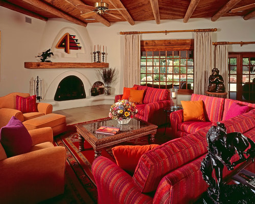 Marvelous Southwest Living Room Photo In Phoenix With White Walls, A Standard  Fireplace And Brown Floors
