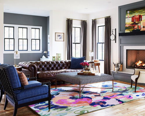 Eclectic Living Room Photo In Richmond With Multicolored Walls Light Wood Floors A Standard