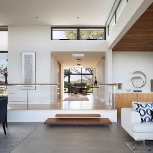 Living room - mid-sized modern open concept porcelain floor and gray floor living room idea in San Francisco with white walls, a two-sided fireplace, a stone fireplace and no tv