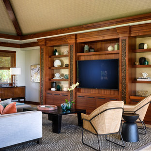Inspiration for a large world-inspired open plan living room in Hawaii with beige walls, limestone flooring and a built-in media unit.