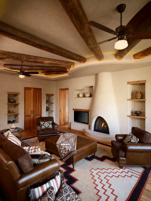 best southwestern living room with a built in media wall design ideas