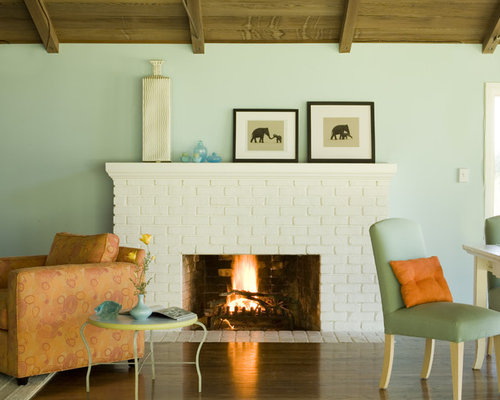 Inspiration For A Rustic Living Room Remodel In San Francisco With Blue  Walls And A Standard