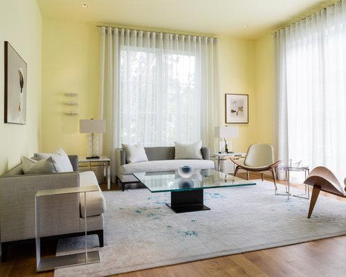 Trendy Formal Medium Tone Wood Floor Living Room Photo In DC Metro With Yellow Walls