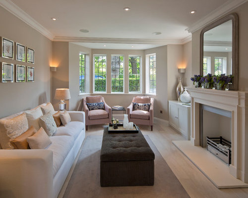 Living Room   Transitional Enclosed Living Room Idea In London With Beige  Walls And A Standard