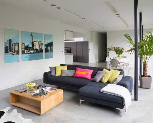 Modern Formal Open Plan Living Room In London With White Walls And Concrete  Flooring.