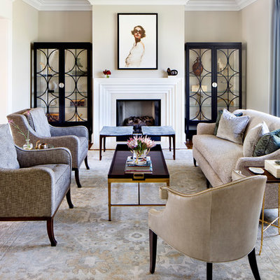 Living room - traditional formal living room idea in Baltimore with beige walls and a standard fireplace