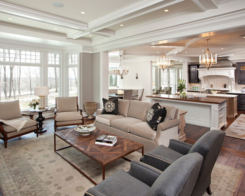 Example Of A Classic Open Concept Living Room Design In Minneapolis With  Gray Walls And Brown