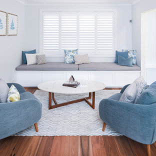 Inspiration for a beach style living room in Sydney.