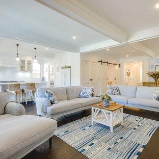Example of a coastal living room design in Gold Coast - Tweed