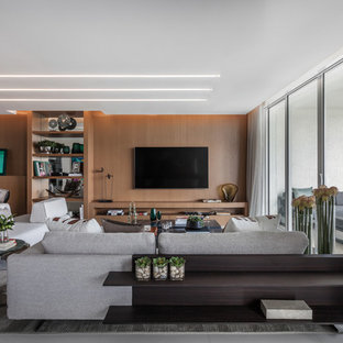 Inspiration For A Contemporary White Floor Living Room Remodel In Miami  With White Walls And A