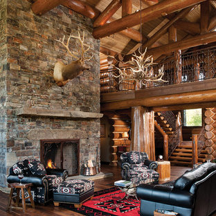 Mountain Style Open Concept Living Room Photo In Boise With A Standard  Fireplace And A Stone