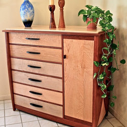 Handmade Dresser In Curly Maple & Bubinga - This dresser has 12 drawers and provides for ample storage in a compact piece of furniture.