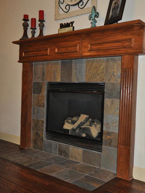 Handscraped Hardwood Floor Slate Fireplace Wood Stairway