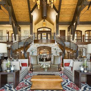 Idee per un ampio soggiorno rustico aperto con pareti bianche, nessun camino, nessuna TV e sala formale
