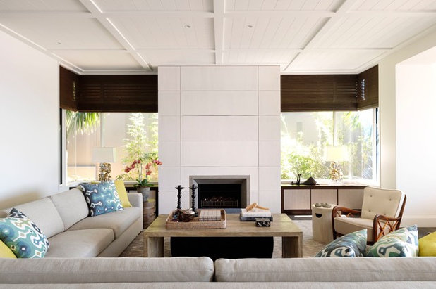 Transitional Living Room by Porebski Architects