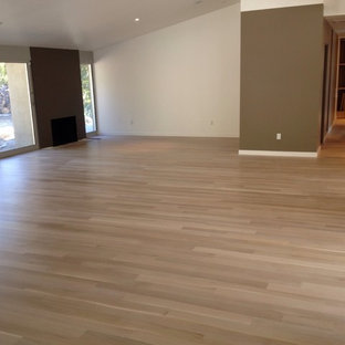 Large modern open plan living room in Los Angeles with no tv, brown walls, light hardwood flooring and no fireplace.