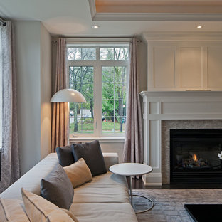 Living room - transitional living room idea in Toronto with a tile fireplace