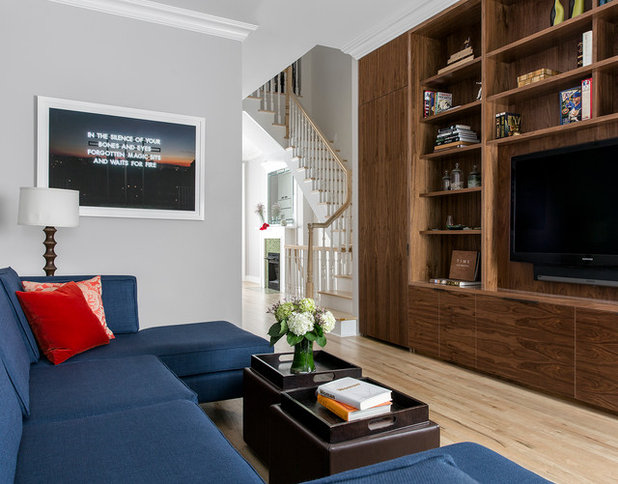 Transitional Living Room by James Wagman Architect, LLC