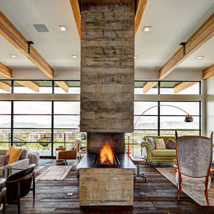 Living room - 1960s open concept dark wood floor living room idea in Salt Lake City with gray walls and a two-sided fireplace