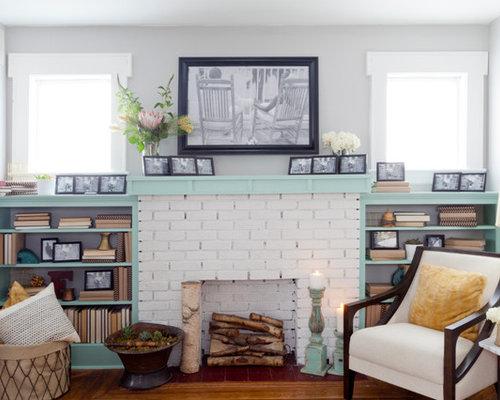 White fireplace mantel shelves houzz for B q living room shelves