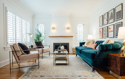 Room of the Day: Glam Comfort in a Tudor-Style Living Room
