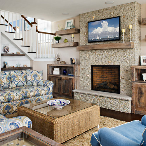 Coastal Living Room Photo In New York With Beige Walls A Standard Fireplace And