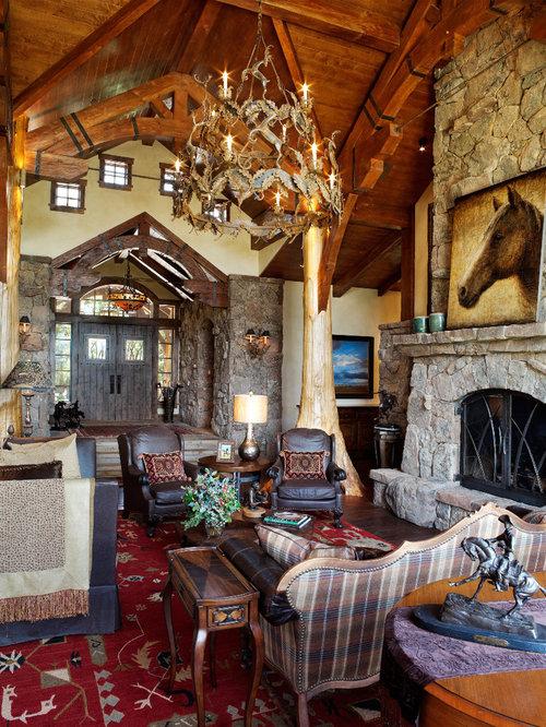 Images de décoration et idées déco de maisons Rustic Foyer