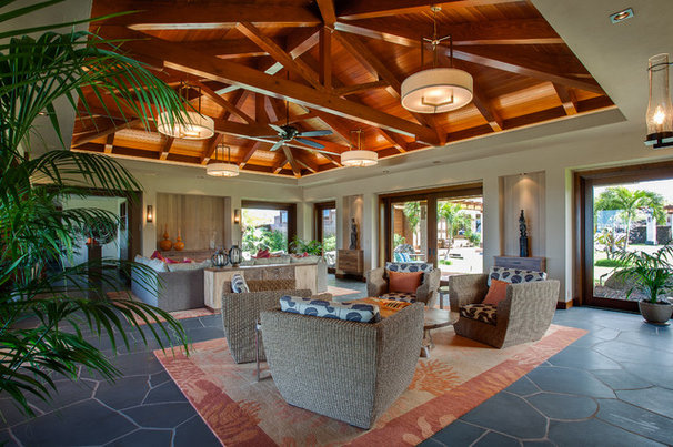 Tropical Living Room by Norelco Cabinets Ltd