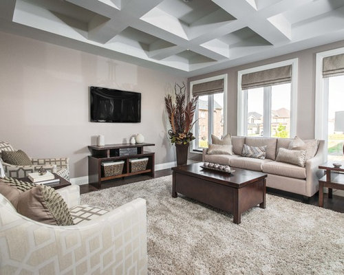Inspiration For A Transitional Dark Wood Floor Living Room Remodel In  Toronto With Gray Walls And