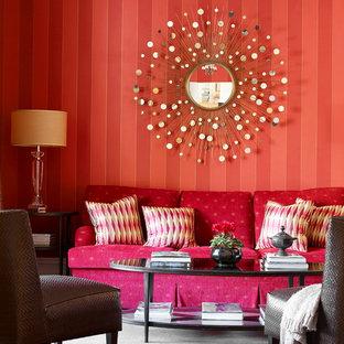 Idee per un soggiorno tradizionale di medie dimensioni e chiuso con sala formale, pareti rosse, moquette, nessun camino, nessuna TV e pavimento grigio