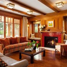 Craftsman Living Room by Kathy Best Design