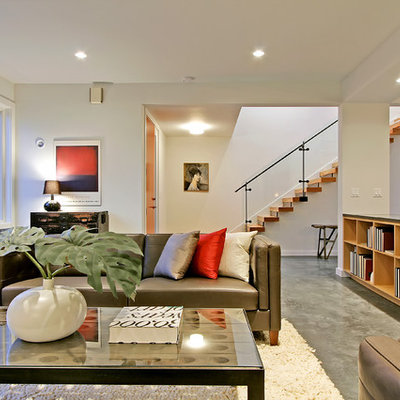 Living room - contemporary formal concrete floor and gray floor living room idea in Seattle with white walls, no fireplace and no tv