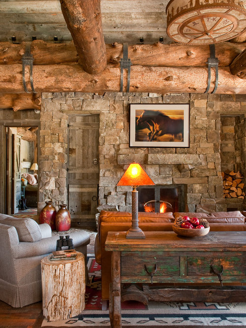 Mountain Style Living Room Photo In Other With Dark Hardwood Floors A Standard Fireplace And