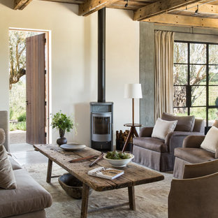 Living room - farmhouse open concept living room idea in San Francisco with beige walls