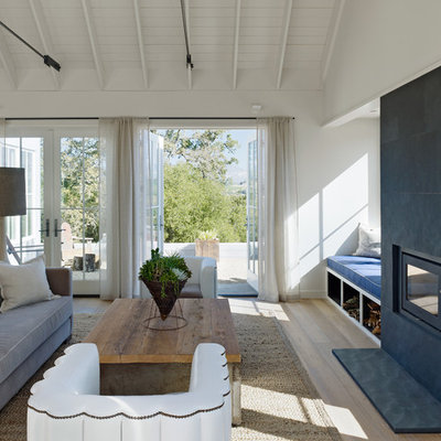 Living room - country living room idea in San Francisco with white walls