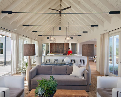 Inspiration For A Farmhouse Open Concept Living Room Remodel In San  Francisco With White Walls Part 91
