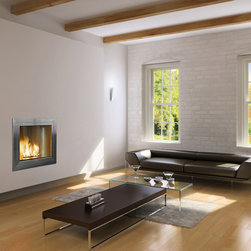 Hearth Cabinet Ventless Fireplaces - Hearth Cabinet Ventless Fireplace - Square Modern Stainless Steel - Pricing available upon request - 212-242-3234