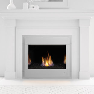 Minimalist painted wood floor and white floor living room photo in Boston with white walls, a standard fireplace and a metal fireplace
