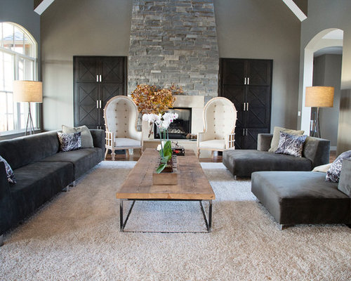 Transitional Living Room Idea In Cedar Rapids With Gray Walls Part 39