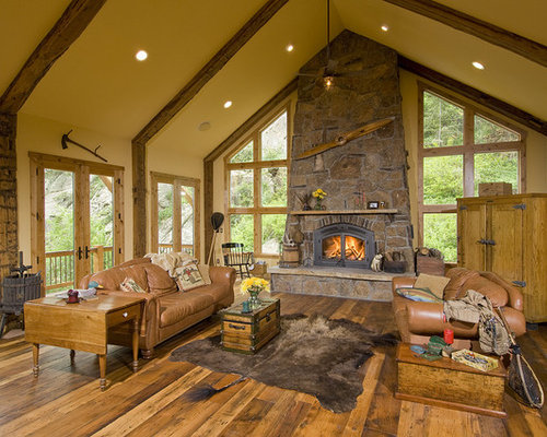 Mid sized rustic formal open concept living room idea in Denver with a  stone fireplaceGreat Room Fireplace   Houzz. Great Room With Fireplace. Home Design Ideas